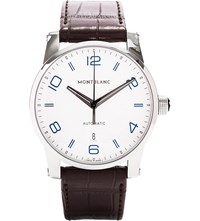 Montblanc 110338 Timewalker Stainless Steel And Leather Watch