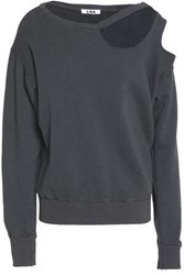 Lna Cutout French Cotton Terry Sweatshirt Dark Gray