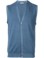 Barba Sleeveless Cardigan Blue