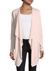 Saks Fifth Avenue Black Wool Blend Open Front Cardigan Pale Pink