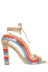 Paula Cademartori Striped Cork Sandals Multi