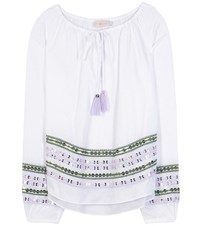 Tory Burch Madeline Embellished Cotton Blouse White