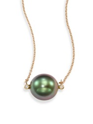 Mizuki Sea Of Beauty 13Mm Black Tahitian Pearl Diamond And 14K Yellow Gold Pendant Necklace Gold Green