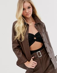 Neon Rose Oversized Shirt In Faux Leather Brown