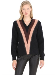 Coach Color Block Mohair Blend V Neck Sweater