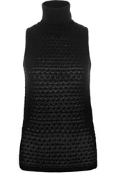Missoni Metallic Crochet Knit Cashmere Blend Turtleneck Tank