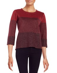 Anne Klein Colorblocked Shimmer Sweater Red