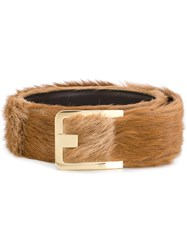 Prada Square Buckle Belt Leather Pony Fur Brown