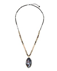 Nakamol Long Beaded Agate And Jasper Pendant Necklace Gray