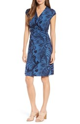 Tommy Bahama Women's Let's Be Fronds Faux Wrap Dress Dockside Blue