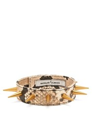 Marques'almeida Spiked Snakeskin Effect Leather Choker Brown
