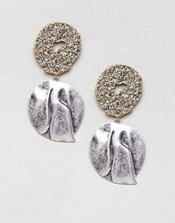 Mango Silver And Gold Disc Earrings In Silver