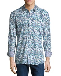 Duchamp Digital Floral Sport Shirt Blue White