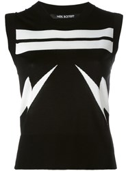 Neil Barrett Lightning Bolt Striped Tank Top Black