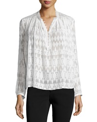 Rebecca Taylor Long Sleeve Fil Coupe Silk Blend Top Snow