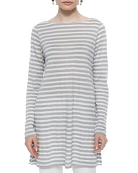 Eileen Fisher Long Sleeve Cruise Striped Linen Tunic Silver