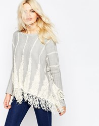 La Fee Verte Veritcal Striped Jumper With Hem Fringe Snowfield
