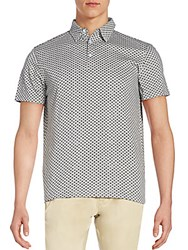 Saks Fifth Avenue Diamond Print Polo Shirt Light Grey