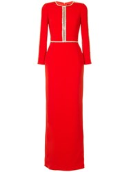 Jenny Packham Embellished Dress Red