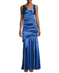 Theia Sleeveless Ruched Mermaid Gown Royal