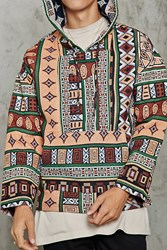 Forever 21 Tribal Inspired Baja Hoodie Green Multi