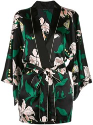 Morgan Lane Nia Floral Print Robe Black