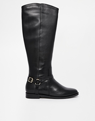 Kg By Kurt Geiger Victory Buckle Flat Knee Boots Black