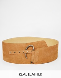 Black And Brown Suede Waist Belt Tan