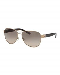 Tory Burch Gradient Contrast Arm Aviator Sunglasses Gold Black Brown