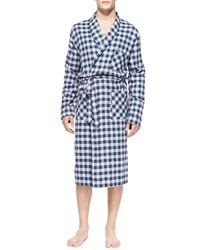 Neiman Marcus Plaid Robe With Piping Blue Blue Plaid