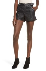 Hudson Jeans Belted Lambskin Leather Shorts