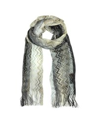 Missoni Woven Zig Zag Viscose Long Scarf Black Gold