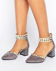Daisy Street Stud Ankle Strap Mid Heeled Shoes Grey Mf