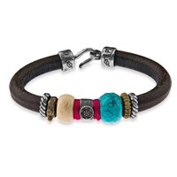 Platadepalo Brown Leather Bracelet With Silk Silver Bronze Zircon And Recon Turquoise