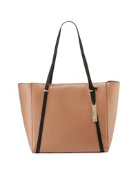 Neiman Marcus Sarah Two Tone Tote Bag With Charger Camel