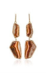 Kimberly Mcdonald Double Agate And Diamond Lever Back Earrings Orange