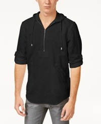 Inc International Concepts I.N.C. Men's Half Zip Linen Blend Hoodie Created For Macy's Deep Black