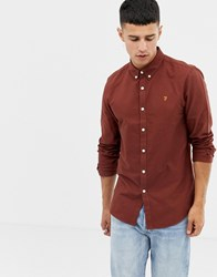 Farah Brewer Slim Fit Oxford Shirt In Rust Red