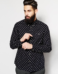 Asos Shirt In Long Sleeve With Polka Dot Print Black