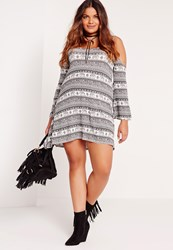 Missguided Plus Size Elephant Print Cold Shoulder Dress Monochrome White