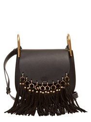 Chloe Hudson Suede Tassel Leather Cross Body Bag Black