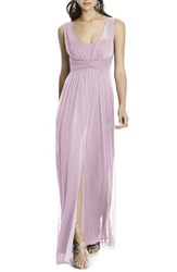 Alfred Sung Women's Illusion Sleeve Chiffon Column Gown Suede Rose