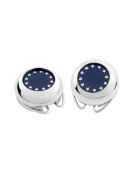 Forzieri Silver Plated European Flag Button Covers