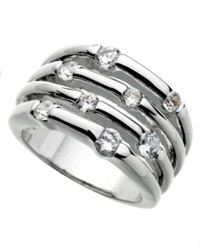 Guess Ring Silver Tone Four Row Crystal