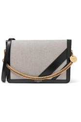 Givenchy Gv Cross Suede Trimmed Canvas And Textured Leather Shoulder Bag Black