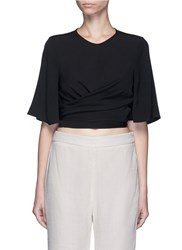 Ellery 'Dalliance' Wrap Tie Crepe Top Black
