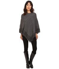 Lauren Ralph Lauren Aran Cable Poncho Dark Grey Heather Women's Long Sleeve Pullover Gray
