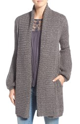 Hinge Women's Ribbed Cardigan Grey Dark Heather