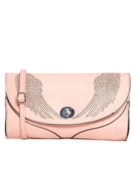 Liquorish Laser Cut Clutch Bag With Wings Pink