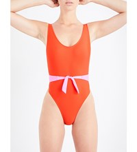 Maiden Front Bow Swimsuit Xmas Red Bubble Gum